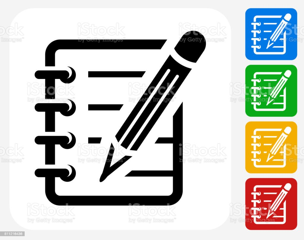 Notebook Icon Flat Graphic Design vector art illustration