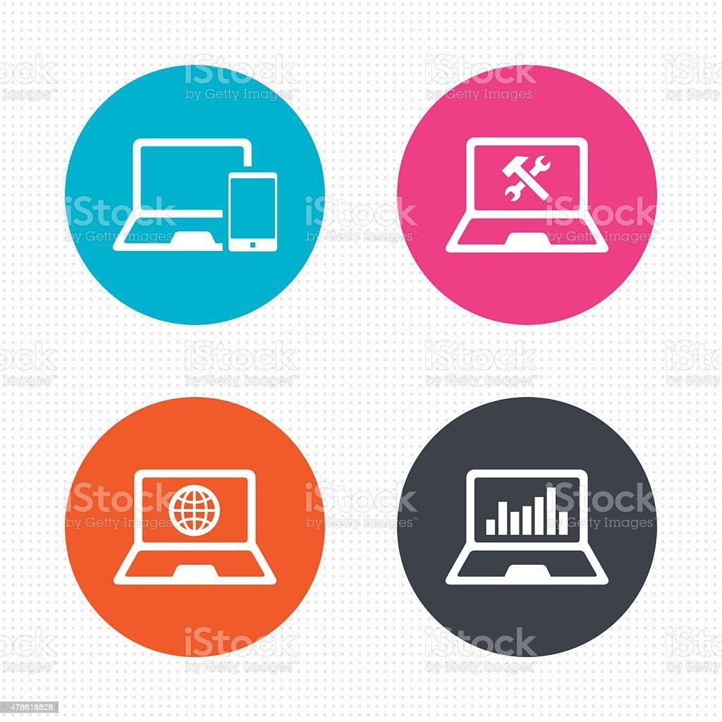 Notebook laptop pc icons. Repair fix service vector art illustration