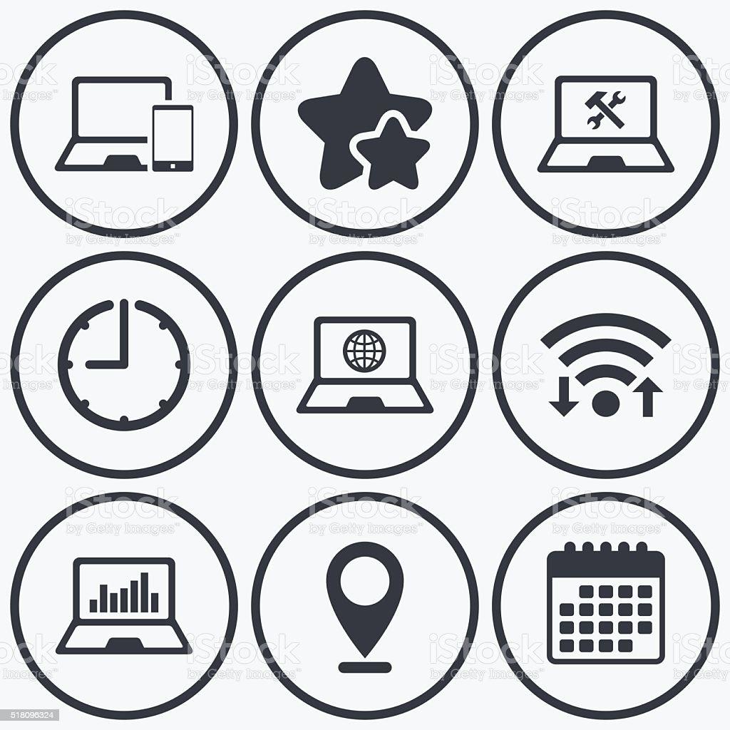 Notebook laptop pc icons. Repair fix service. vector art illustration