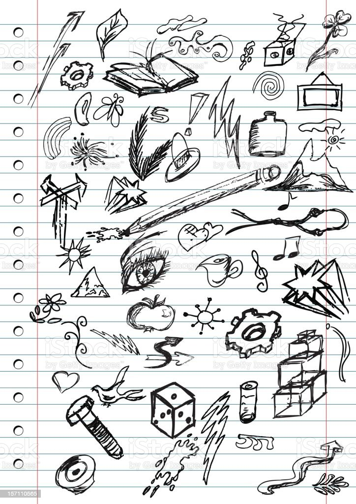 Notebook page with doodles royalty-free stock vector art