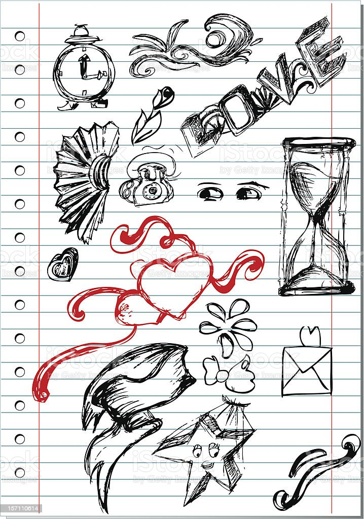 Notebook page with love doodles royalty-free stock vector art