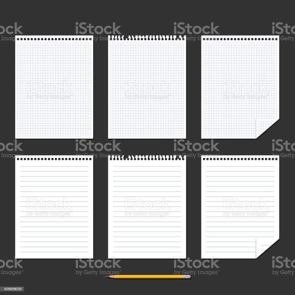 Notebook. Set of sheets of paper vector art illustration