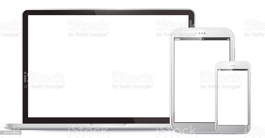 Notebook, Tablet PC, Mobile Phone Vector illustration. vector art illustration