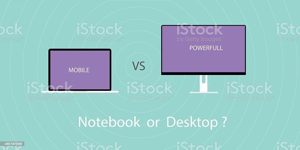 Notebook vs pc desktop vector art illustration