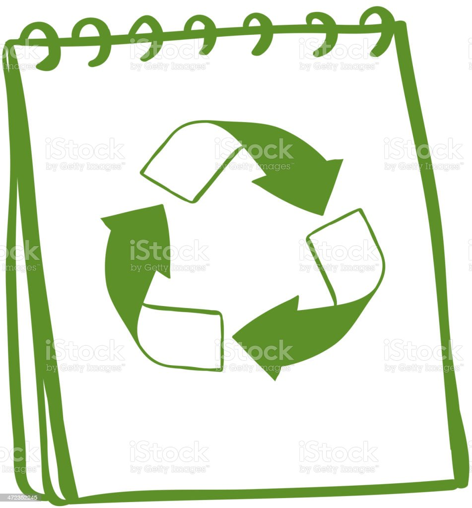 notebook with a drawing of recycle sign royalty-free stock vector art