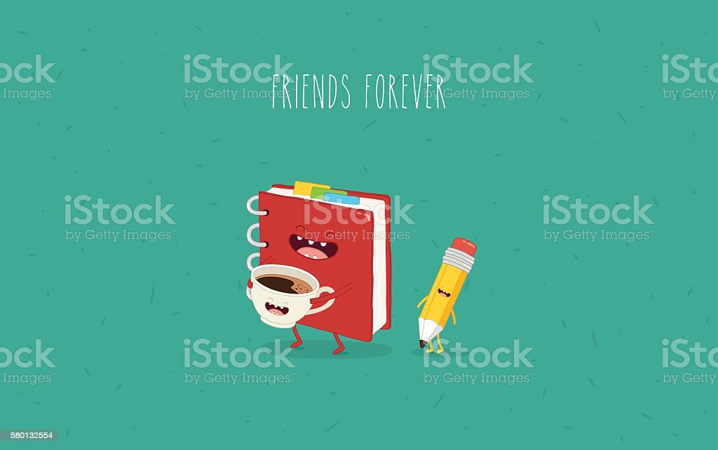 notebook with coffee vector art illustration