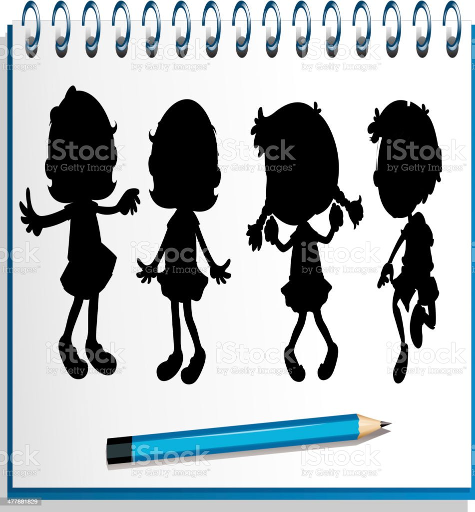 notebook with kids at the cover page royalty-free stock vector art