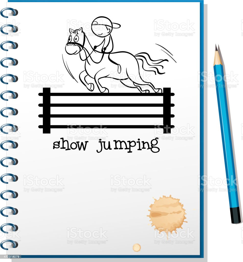 Notebook with sketch of boy riding horse royalty-free stock vector art