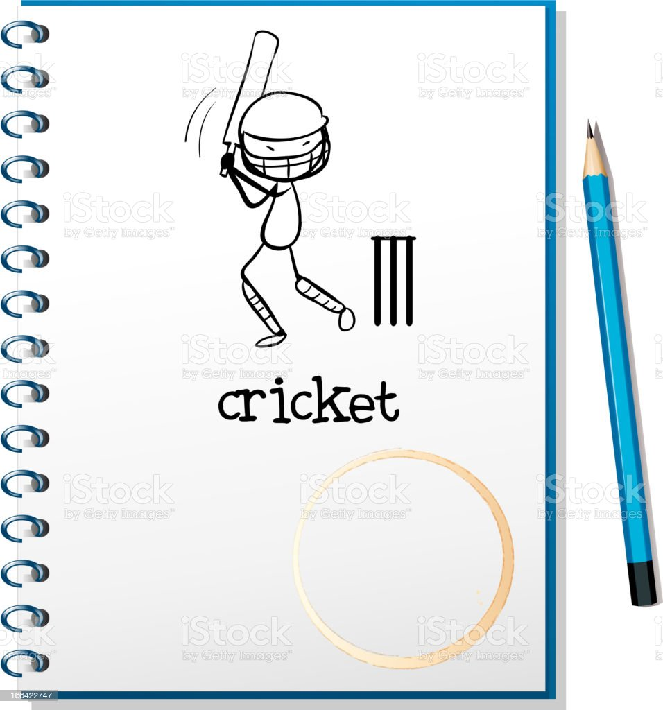 Notebook with sketch of man playing cricket royalty-free stock vector art