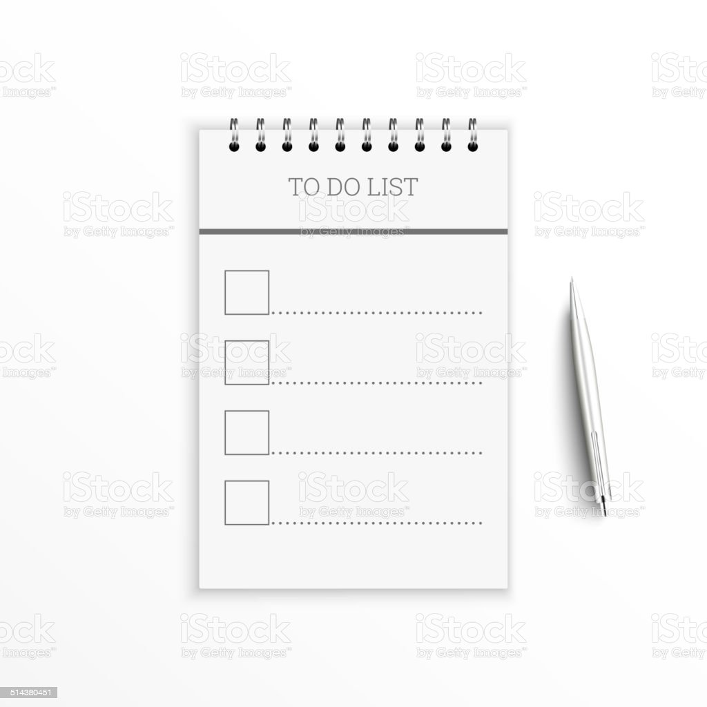 Notebook with to do list. vector art illustration