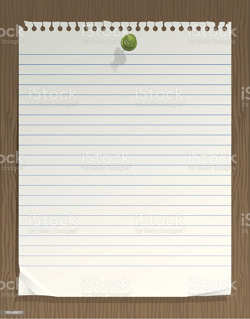 Notepad Paper Pinned on Wooden Wall Vector royalty-free stock vector art