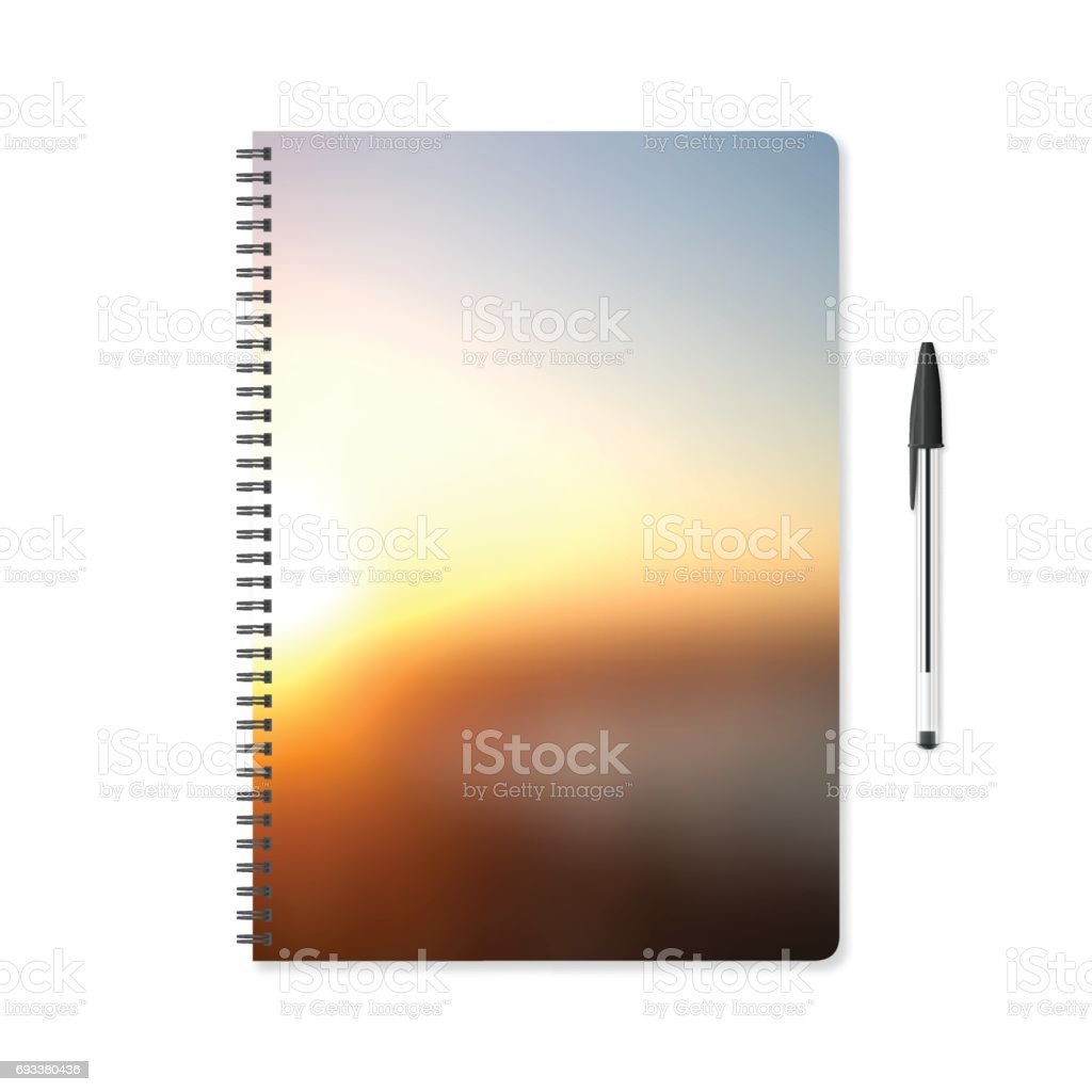 Notepad template with abstract background, blurred sunset and ballpoint pen vector art illustration