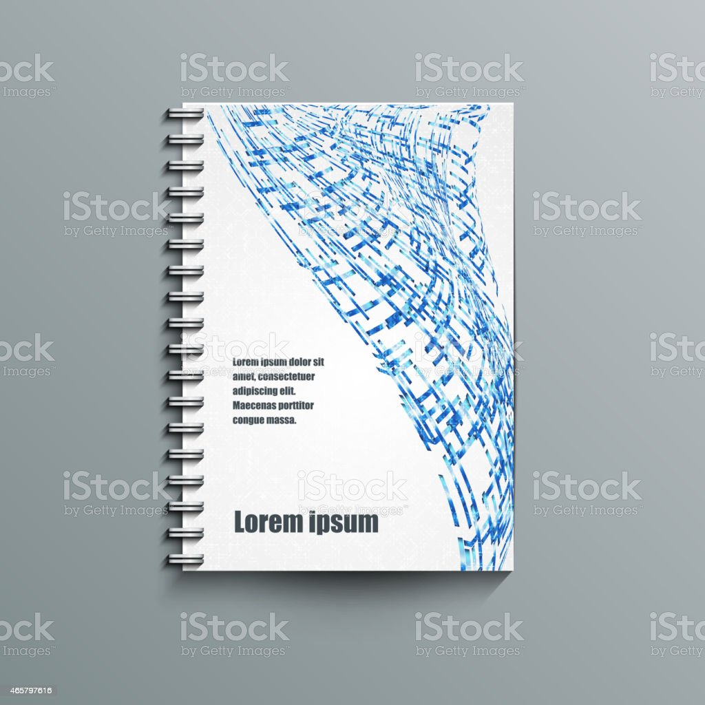 Notepad template with abstract background. vector art illustration