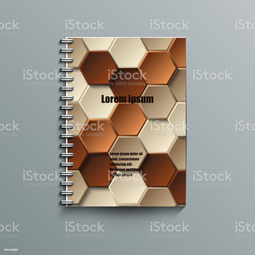 Notepad template with abstract background vector art illustration