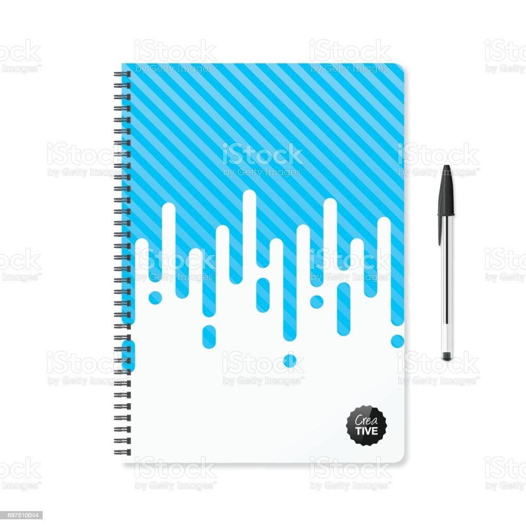 Notepad template with abstract blue background and ballpoint pen vector art illustration