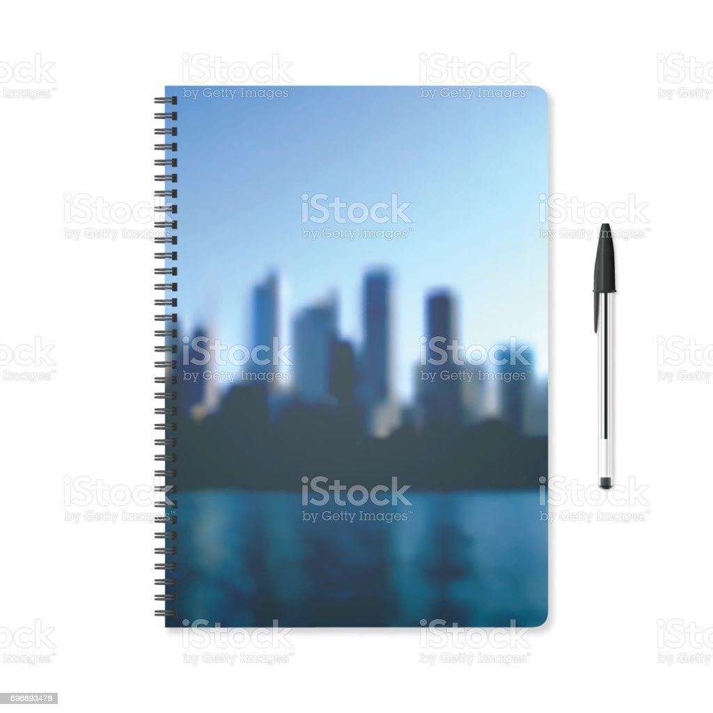 Notepad template with view of skyscrapers and ballpoint pen - Cityscape vector art illustration