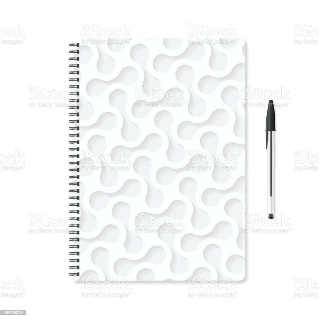 Notepad template with white abstract background and ballpoint pen vector art illustration