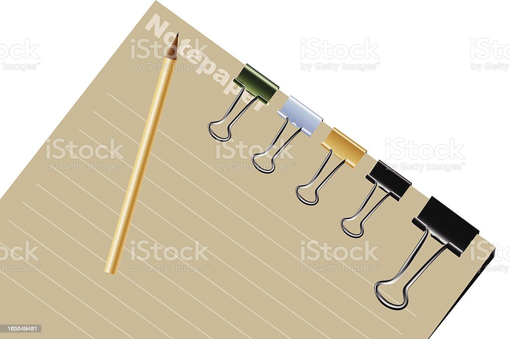 Notepad with binder clips and pencil royalty-free stock vector art