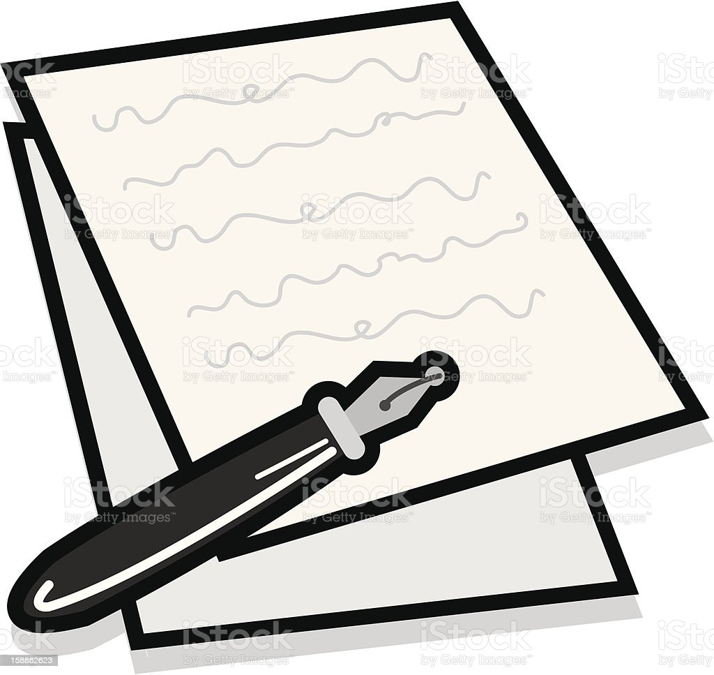 Notes and Pen royalty-free stock vector art
