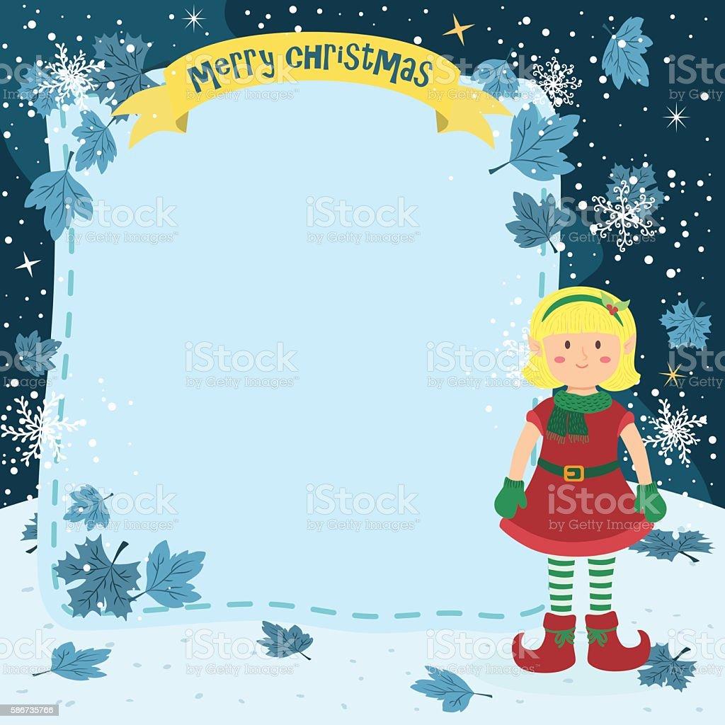 Notes Christmas Elf Blonde Girl vector art illustration