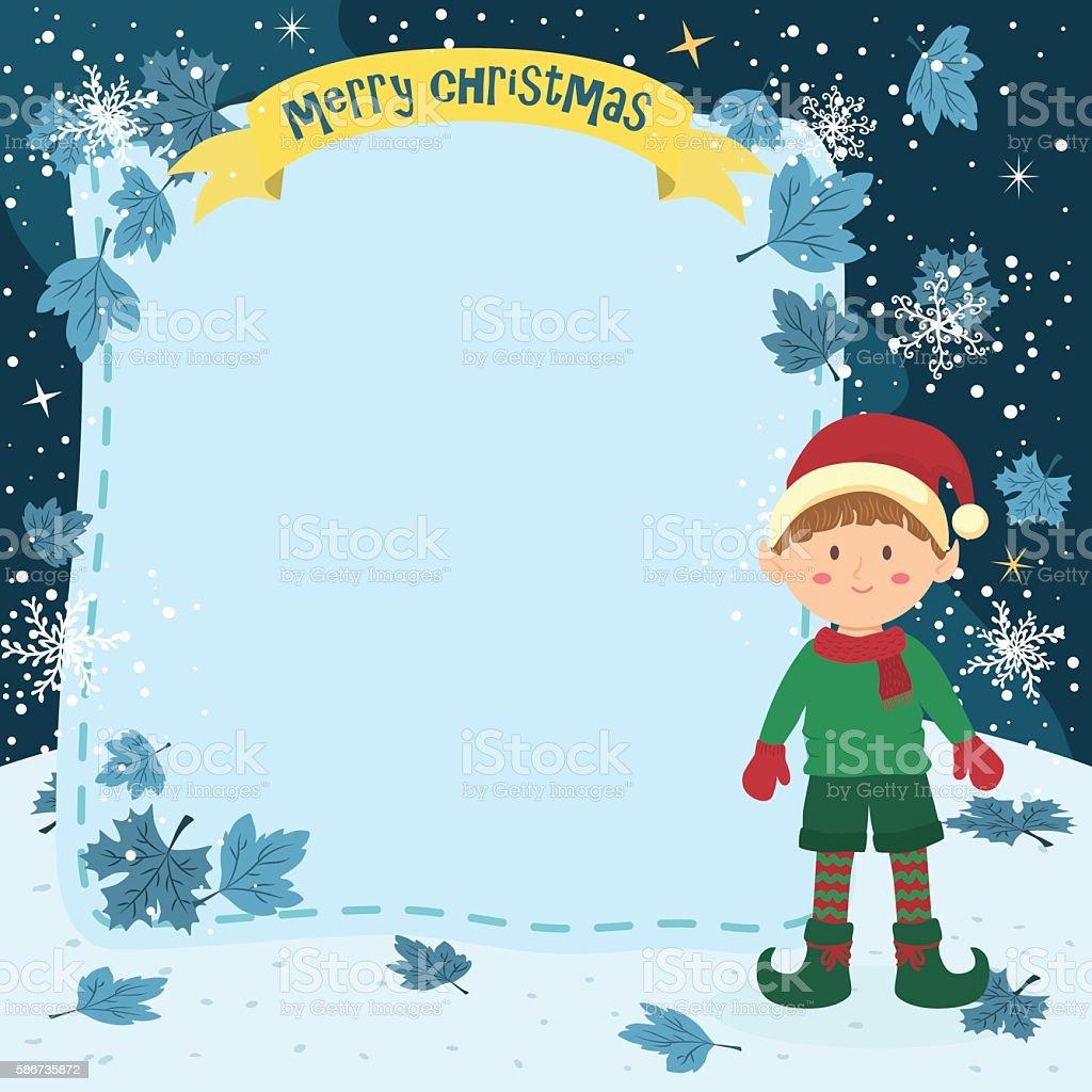 Notes Christmas Elf Boy vector art illustration