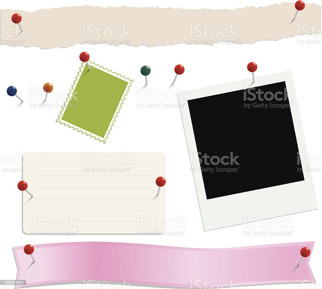 Notes, Headers and Pins royalty-free stock vector art