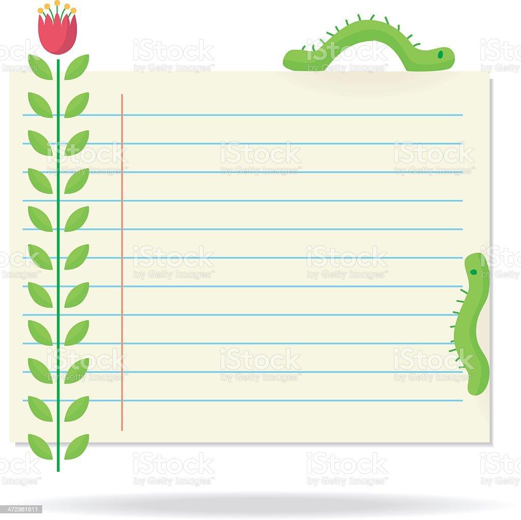 noticepaper with caterpillars. vector art illustration