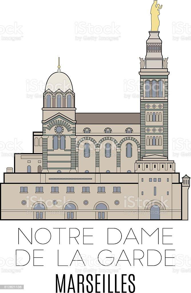 Notre Dame De La Garde, Marseilles vector art illustration