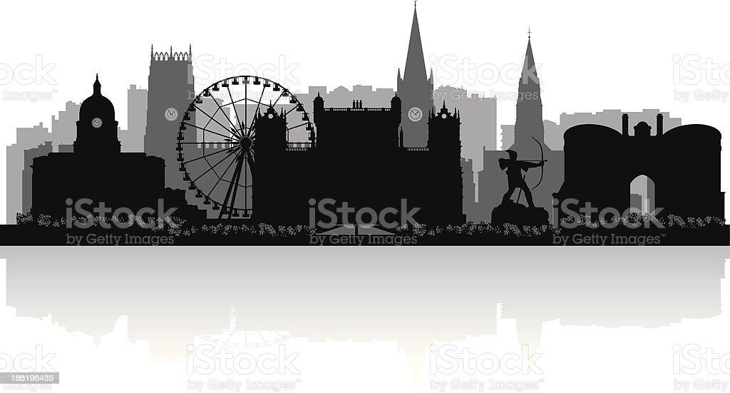 Nottingham England city skyline vector silhouette vector art illustration