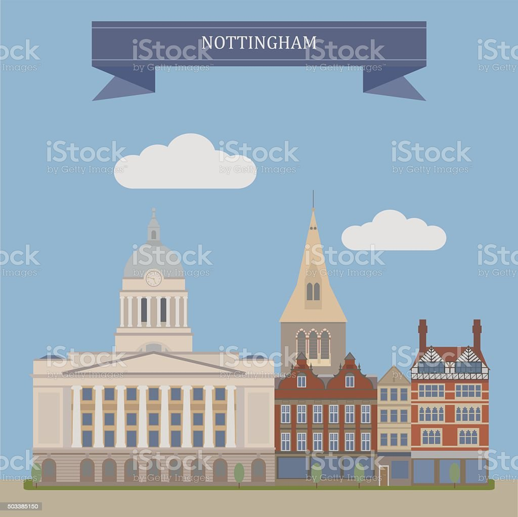 Nottingham, England vector art illustration