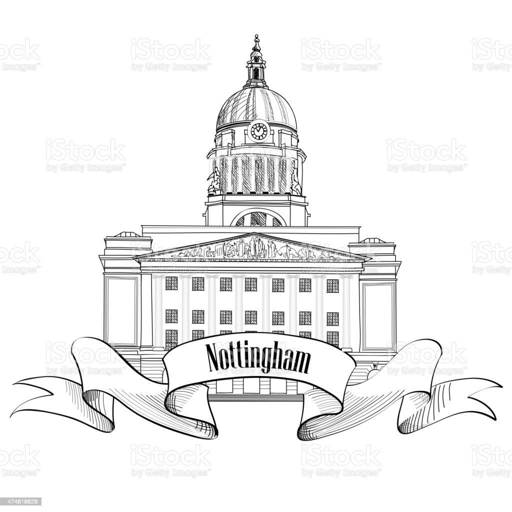 Nottingham Town Hall. Travel city label. vector art illustration