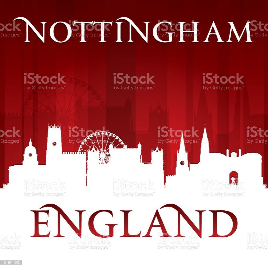 Nottingham UK city skyline silhouette vector art illustration
