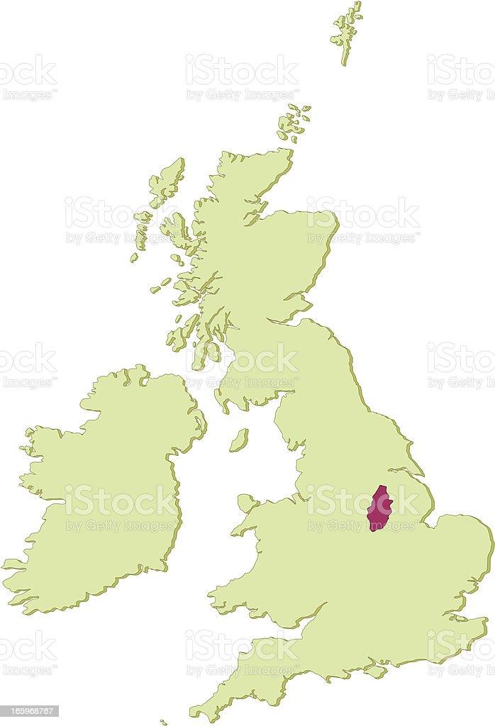 UK Nottinghamshire map vector art illustration