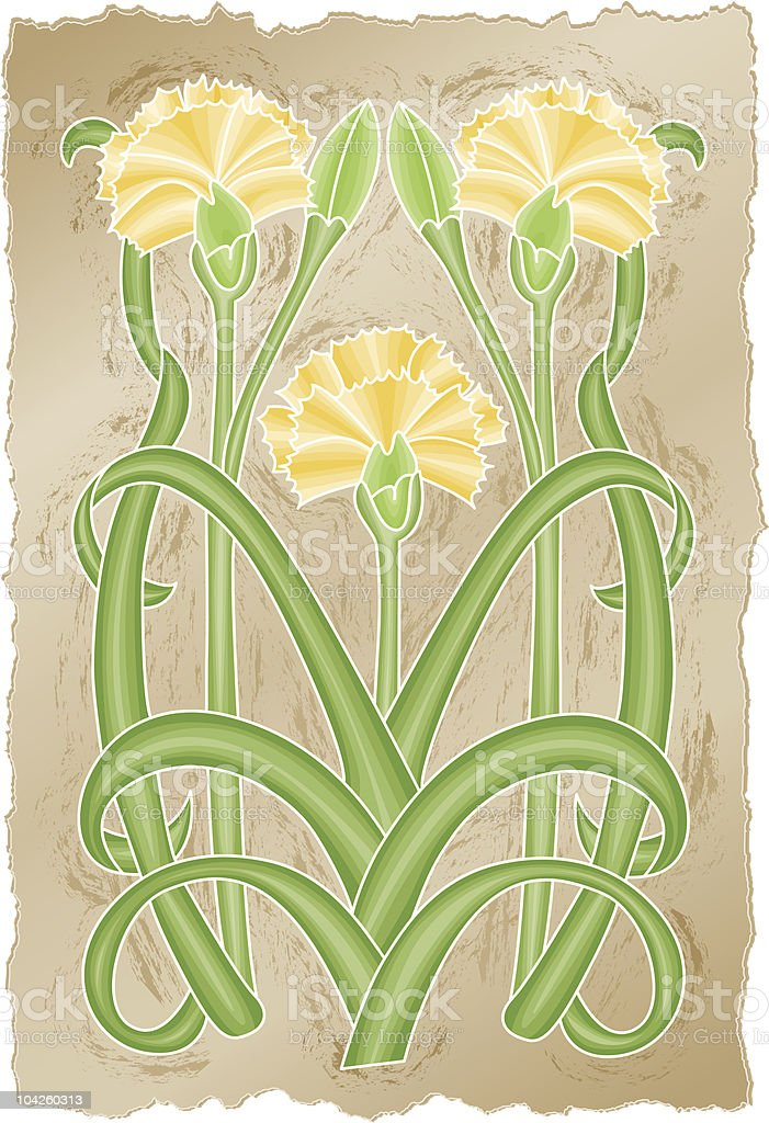Nouveau Chrysanthemums royalty-free stock vector art