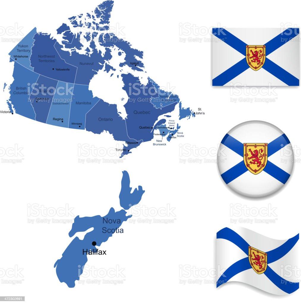 Nova Scotia province set royalty-free stock vector art