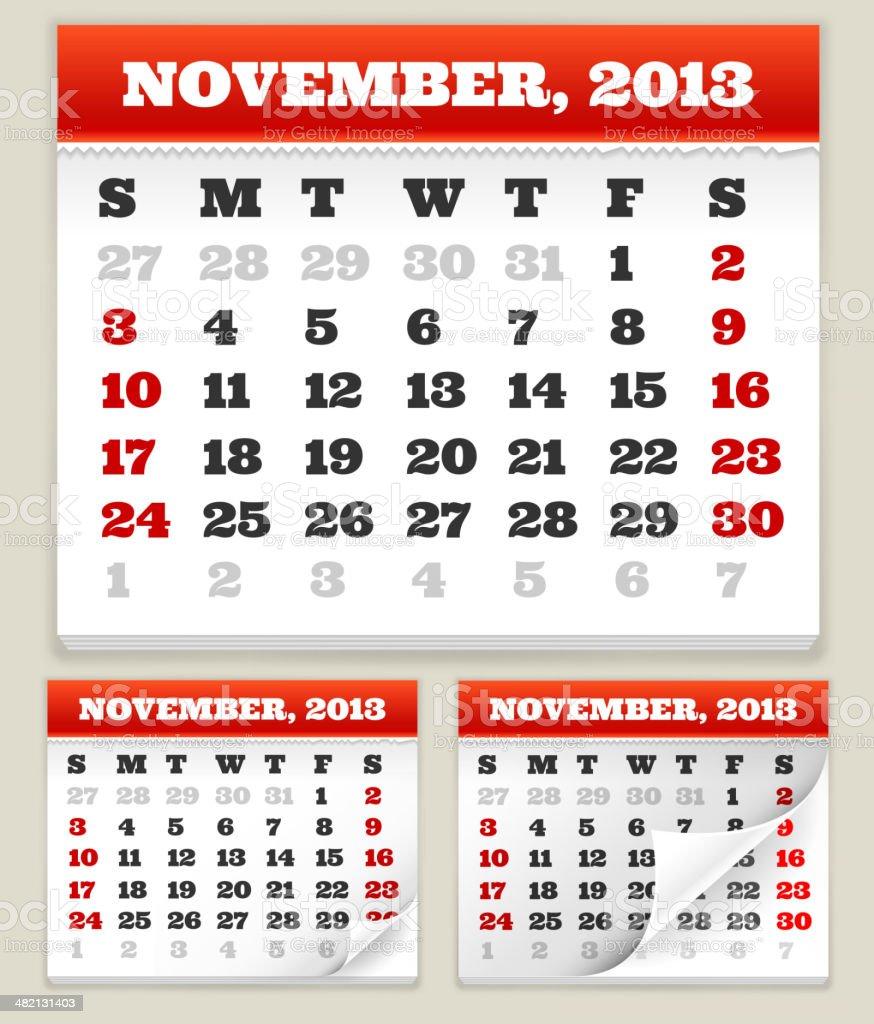 November 2013 Calendar Set royalty-free stock vector art