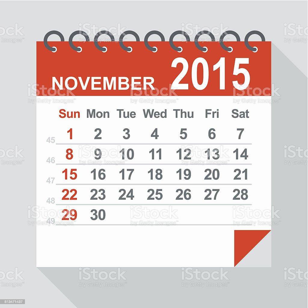 November 2015 calendar - Illustration vector art illustration