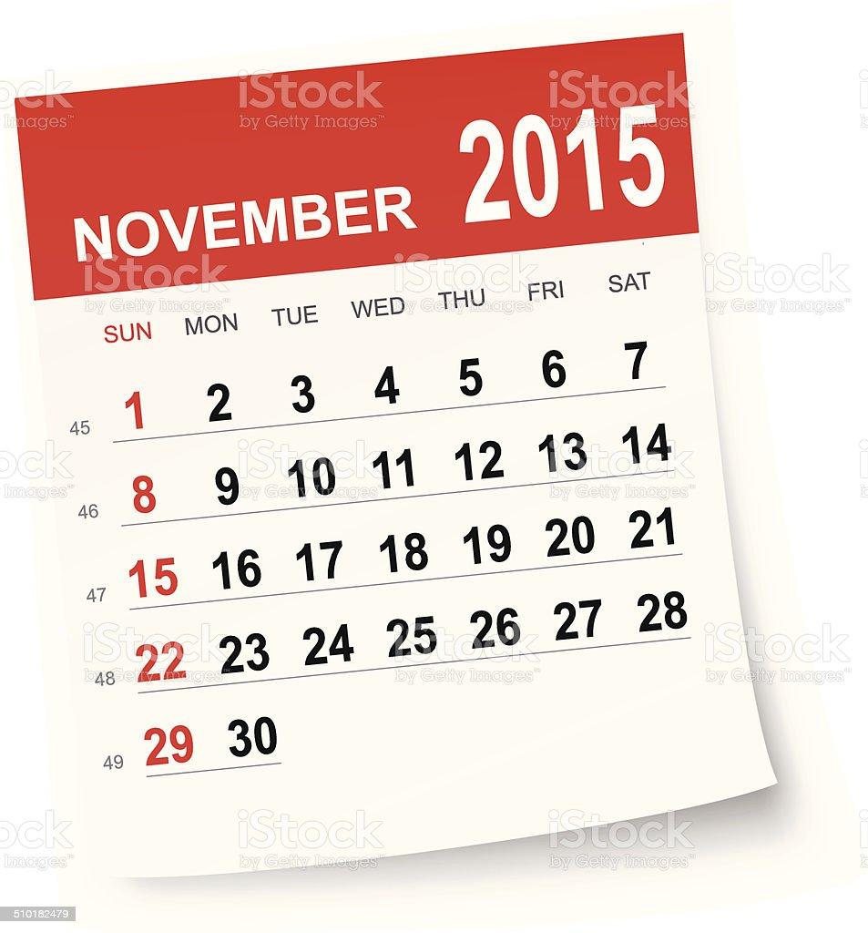 November 2015 calendar vector art illustration