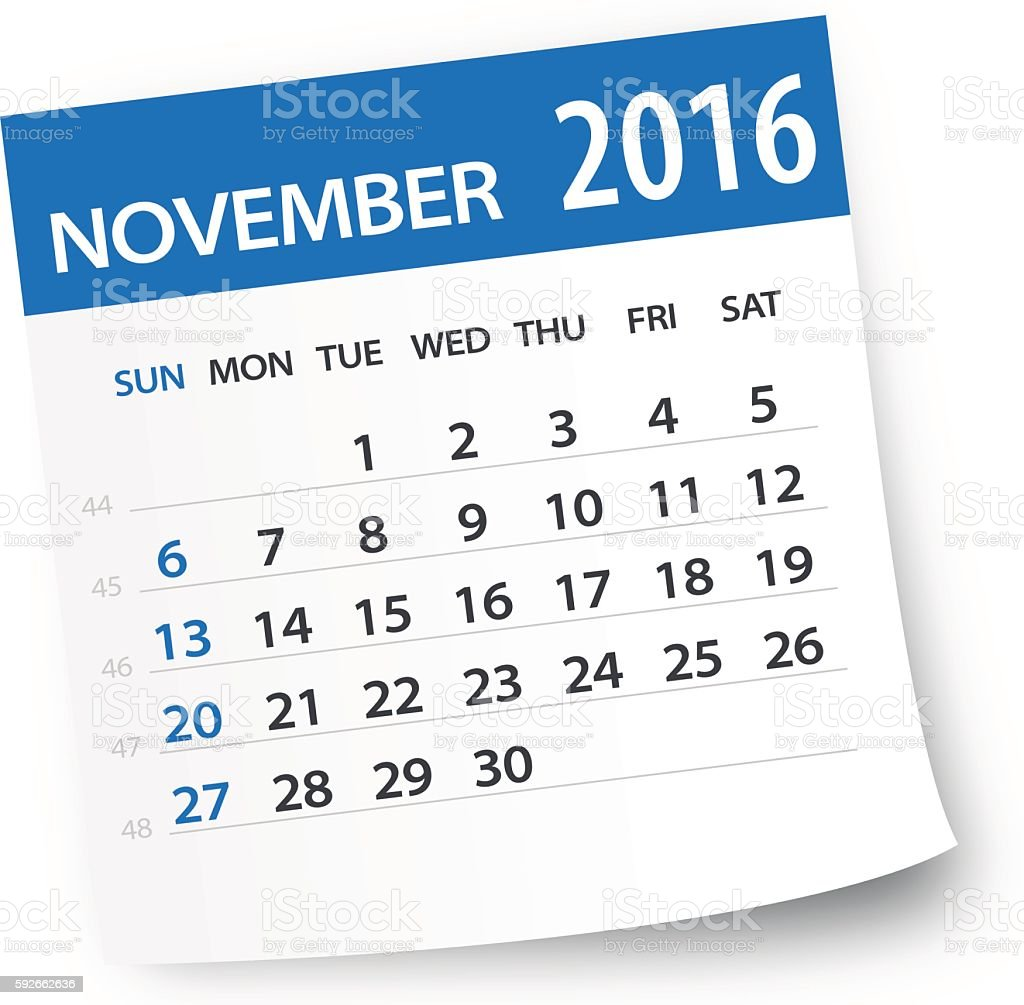 November 2016 calendar leaf - Illustration vector art illustration