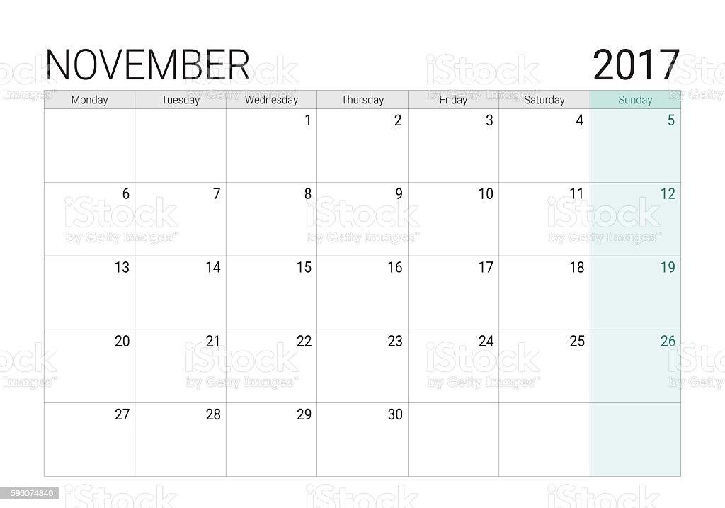 2017 November calendar (or desk planner) vector art illustration