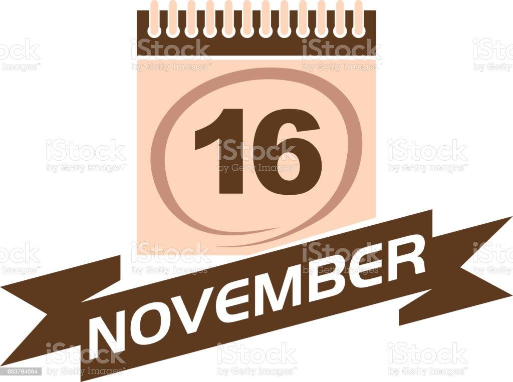 16 November Calendar with Ribbon vector art illustration