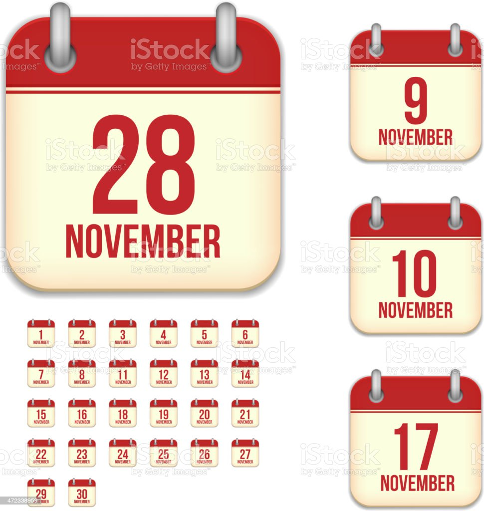 November days. Vector calendar icons vector art illustration