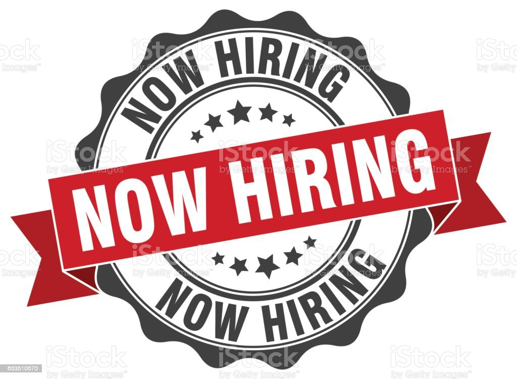 now hiring stamp. sign. seal vector art illustration