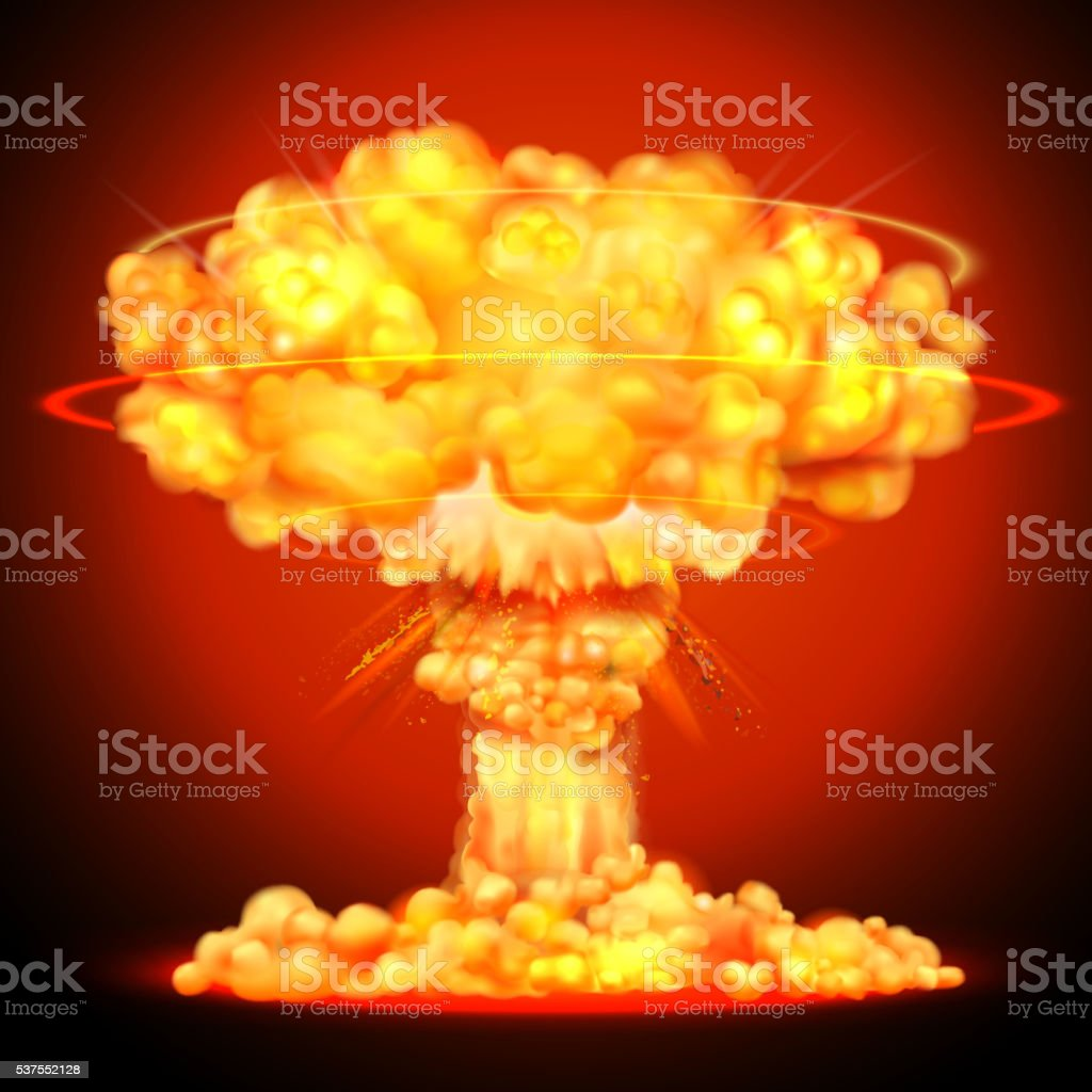 Nuclear bomb explosion vector art illustration