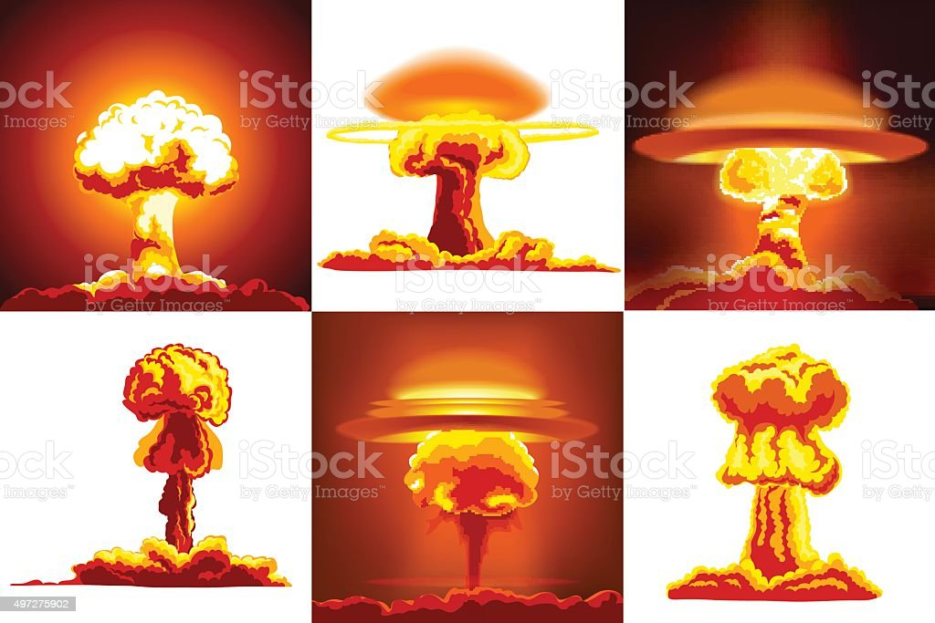 Nuclear explosions set vector art illustration