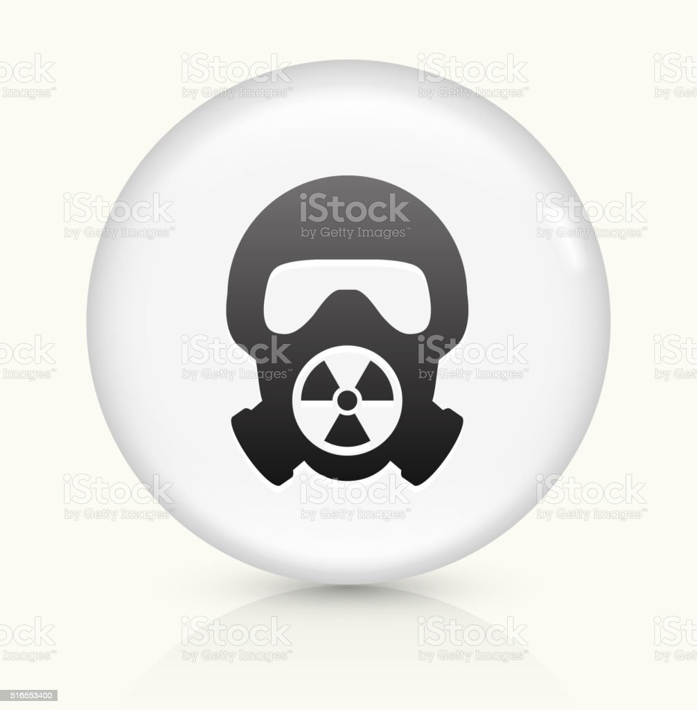 Nuclear Gas Mask icon on white round vector button vector art illustration