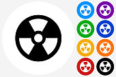 Nuclear Icon on Flat Color Circle Buttons