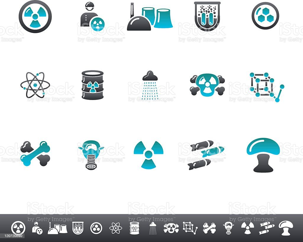 Nuclear Icons | Blue Grey royalty-free stock vector art