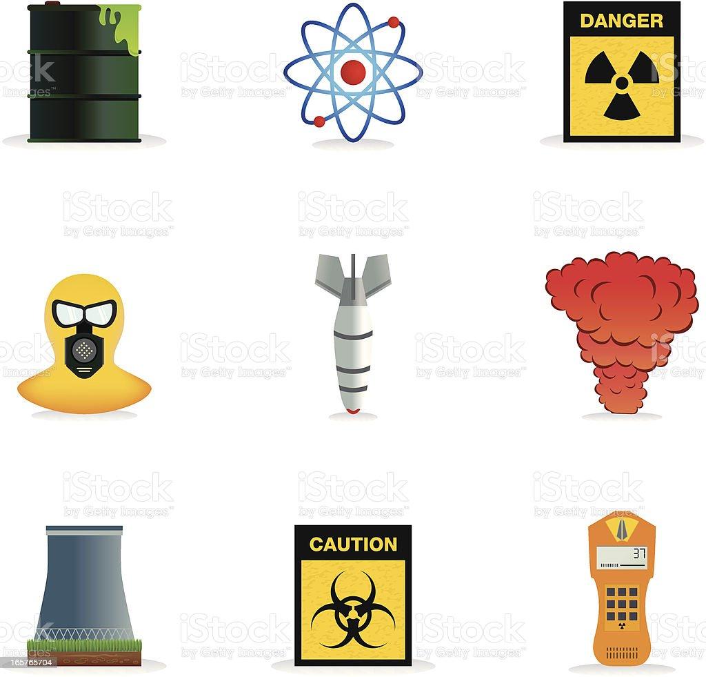 Nuclear Icons vector art illustration