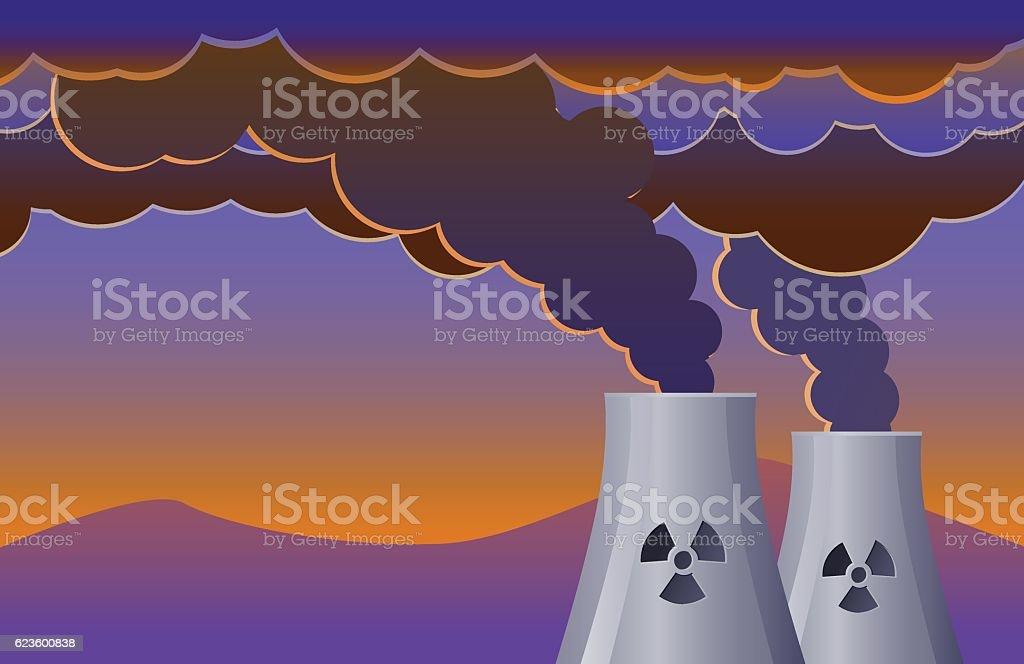 Nuclear plant vector icon vector art illustration
